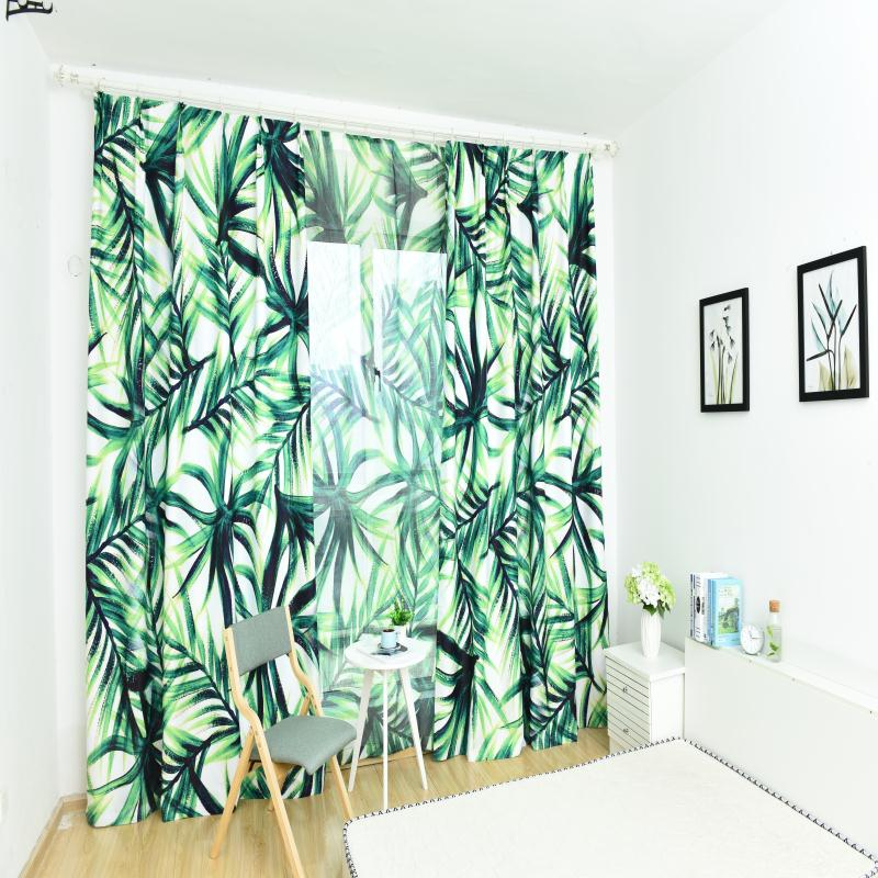 3D Green Leaf Pattern Custom Cotton and Linen Grommet Top Curtain with Sheer