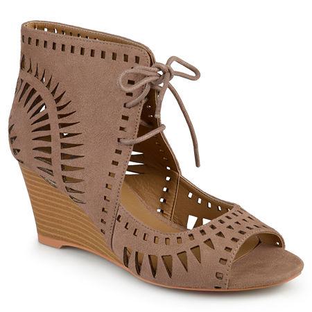 Journee Collection Womens Zola Pumps Wedge Heel, 6 Medium, Brown