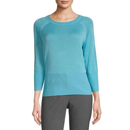 Worthington Womens Crew Neck Long Sleeve Pullover Sweater, Small , Blue