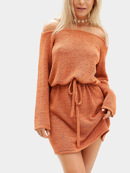 Yoins Orange Casual Off Shoulder Self-tie Design Dress