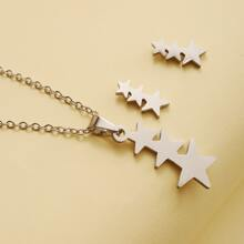 1pc Star Pendant Necklace & 1pair Earrings