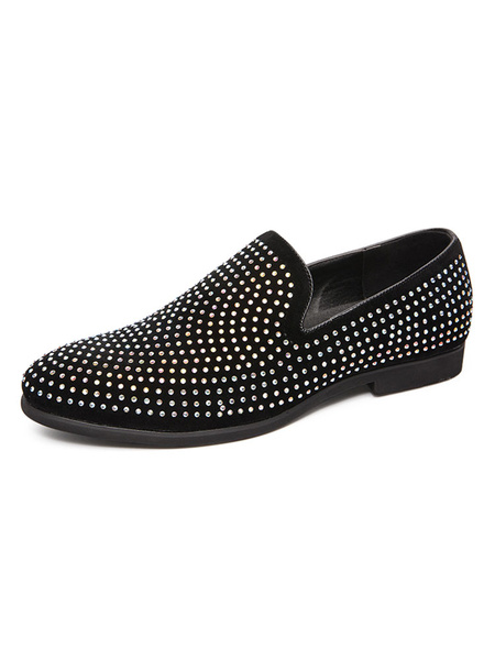 Milanoo Mens Loafer Shoes Slip-On Pointed Toe Seqiuned Slip-On Summer Shoes