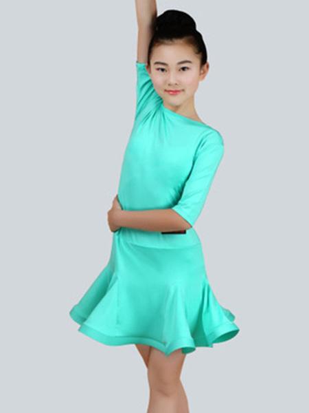 Milanoo Dance Costumes Latin Dancer Dresses Kids Mint Green Half Sleeve Ballroom Dancing Outfits For Girls Halloween