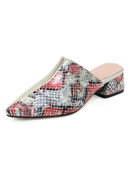 Milanoo Women Mules Shoes Silver Pointed Toe Snake Pattern Backless Slip On Shoes