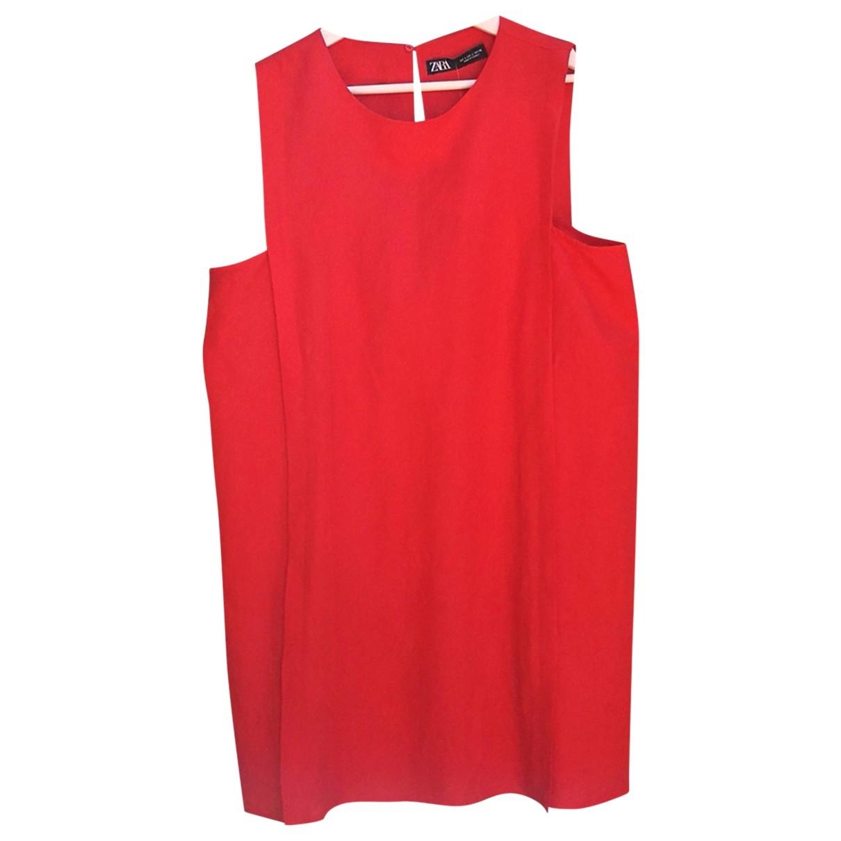 Zara \N Orange Linen dress for Women 40 FR