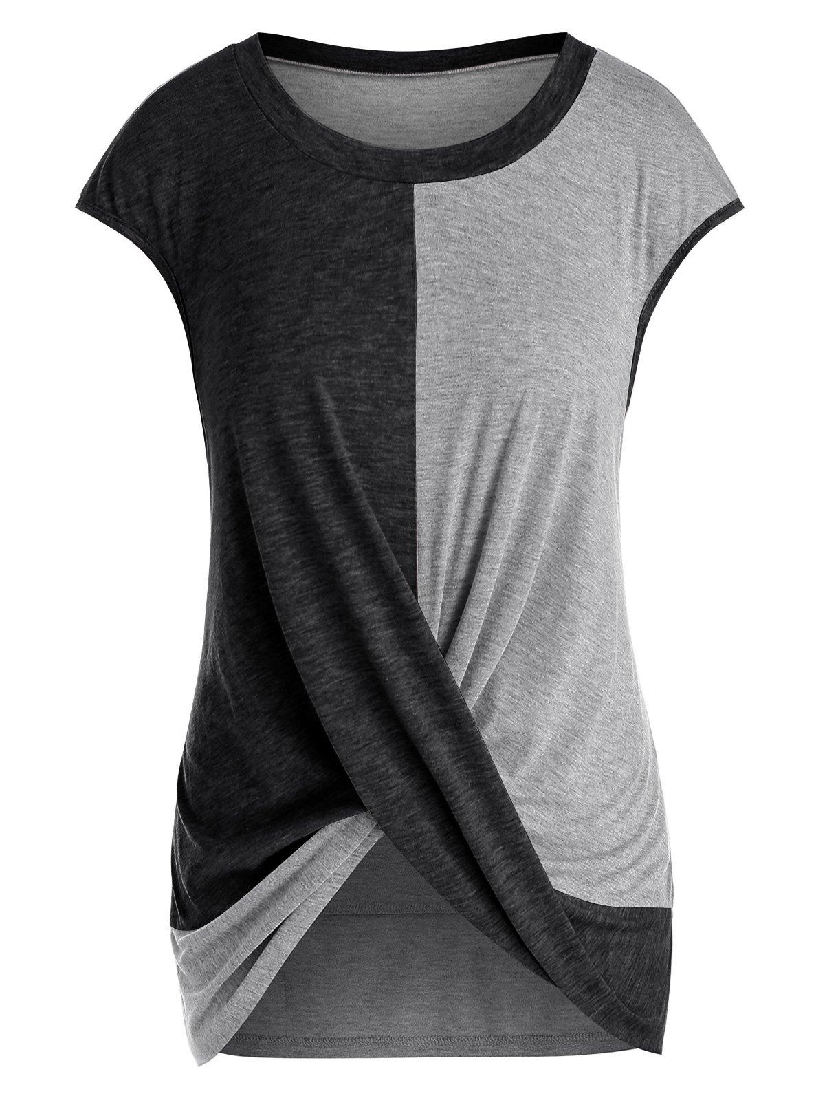 Plus Size Cap Sleeve Criss Cross T-shirt