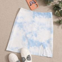 Zip Back Slit Hem Tie Dye Skirt