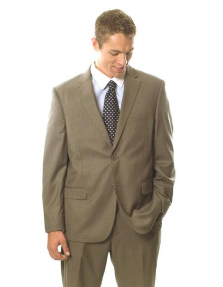 Mens Classic Fit Single Breasted Light Brown 2 Button Notch Lapel Suit