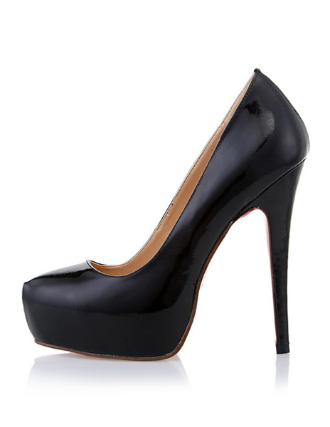 Milanoo Black Platform Heels Women Pu Leather Stiletto Heel Slip On Pumps
