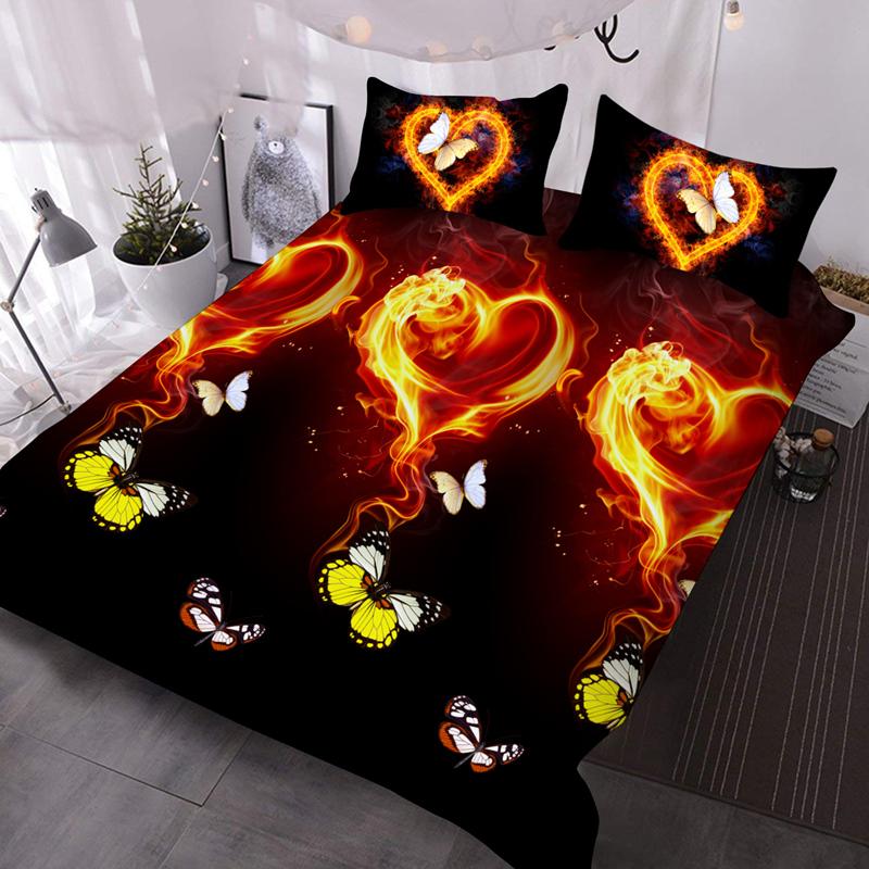 Butterflies and Fire Heart 3Pcs Microfiber No-Fading Comforter Set 3D Soft Lightweight Comforter with 2 Pillowcases