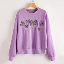 Butterfly & Letter Embroidery Sweatshirt