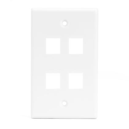 4 Port Keystone Wall Plate for RJ45 RJ11 RJ12 RCA F-Type Jack - White - PrimeCables® - 1/Pack
