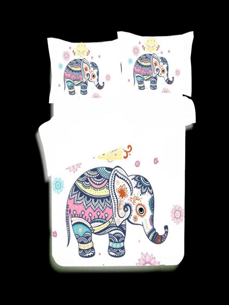 Vivilinen 3D Elephant Zentangle Style Printed Polyester 3-Piece White Bedding Sets/Duvet Covers