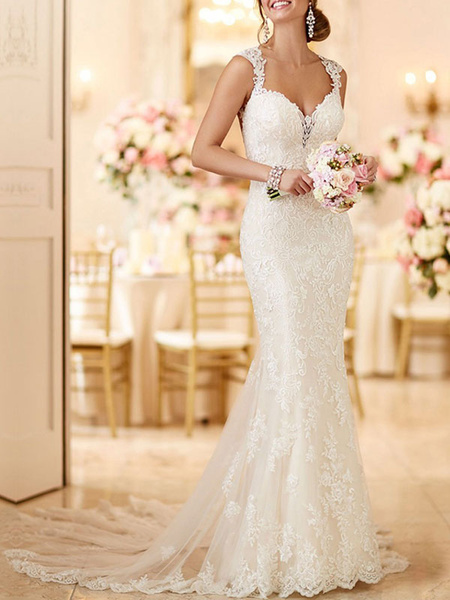 Milanoo Wedding Bridal Gowns Mermaid Queen Annie Neck Sleeveless Lace Bridal Gowns