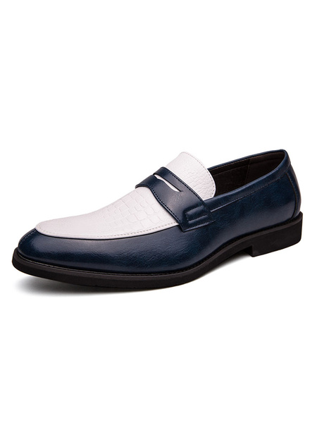 Milanoo Mens Loafer Shoes Slip-On Color Block Round Toe PU Leather Fashion Shoes