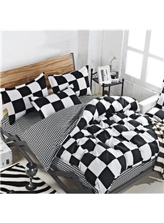 Classic Plaid Zipper Bedding Sets 4-Piece No-fading Soft Washable Black and White Checked Duvet Cover Set