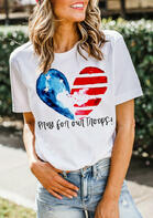 American Flag Pray For Our Troops Heart T-Shirt Tee - White