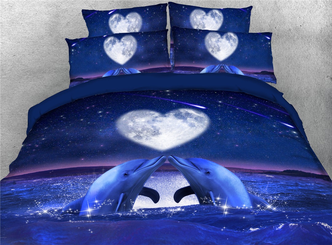Loving Dolphin Duvet Cover Set Four-Piece Set Machine Wash Polyester Bedding Sets