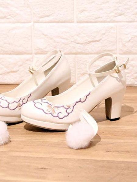 Milanoo Black Lolita Shoes Pom Pom Bunny Ear Ankle Strap Heeled Lolita Pumps