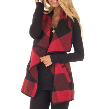 Plaid Draped Front Wool Blend Waistcoat