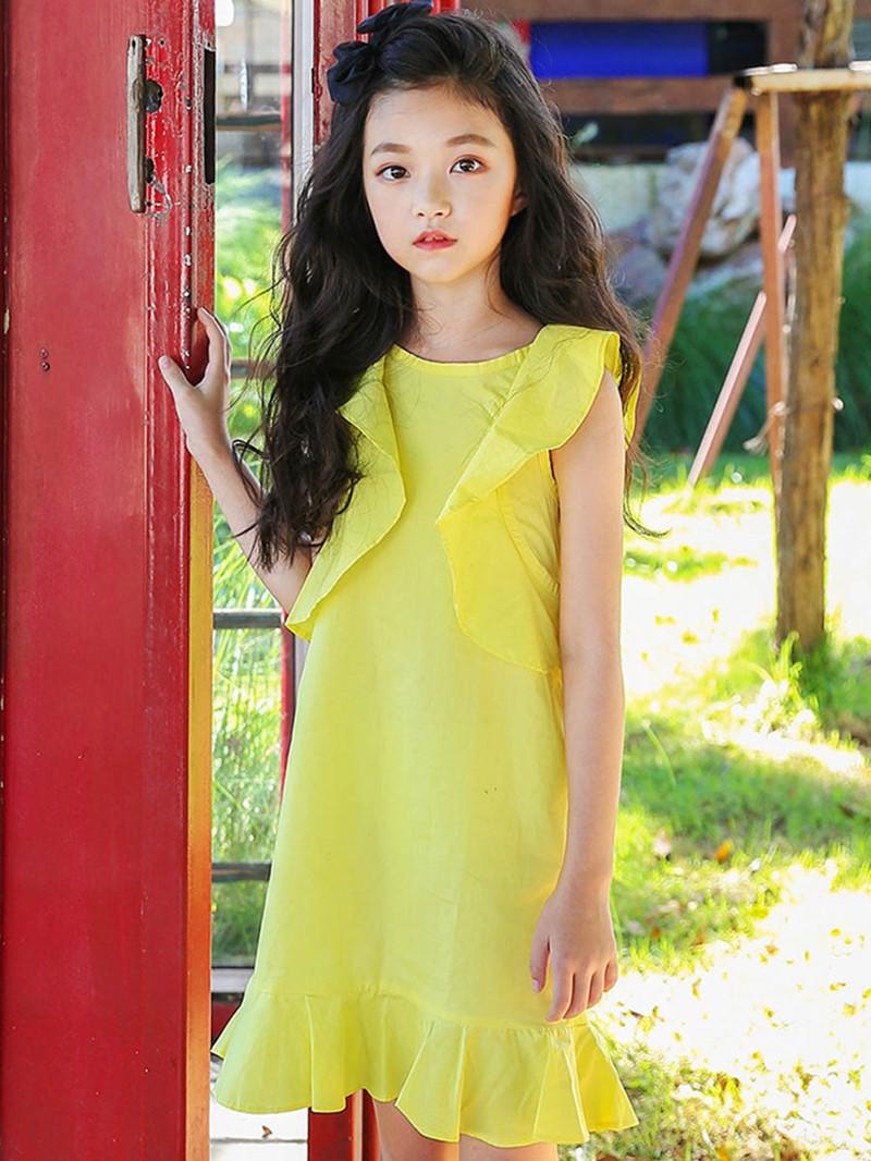 Ericdress Ruffles Bowknot Girl's Sleveless Plain Pullover Dress