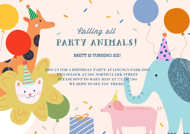 Kids Birthday Party Invites 5x7 Cards, Premium Cardstock 120lb, Card & Stationery -Party Animal Confetti Invite