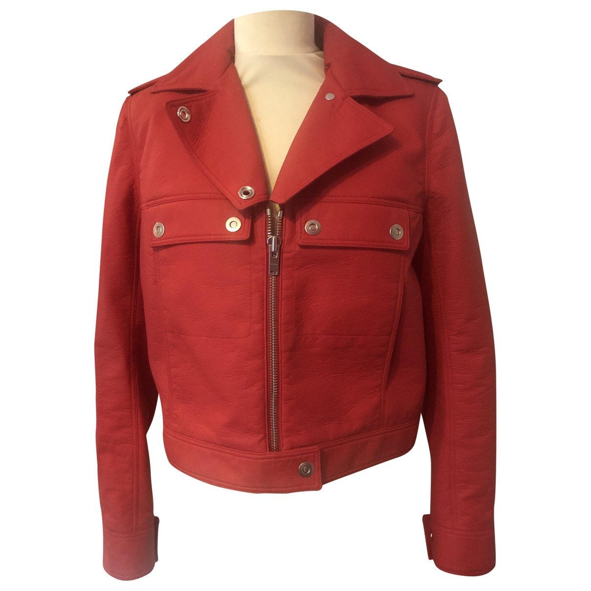 Courrèges \N Red Cotton Leather jacket for Women 40 FR