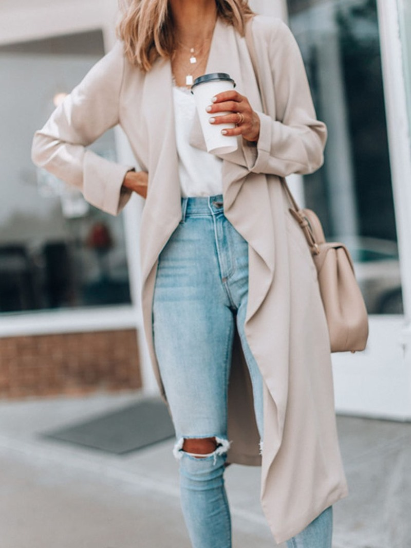 Ericdress Long Fall Straight Trench Coat