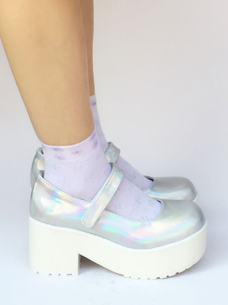 Milanoo Glitter Lolita Shoes Chunky Heel Platform Single Strap Pumps