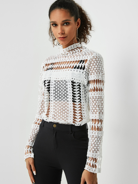 Yoins White Lace Blouse with Hollow Design
