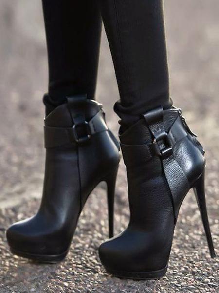 Milanoo Black Ankle Boots Women Shoes Platform High Heel Booties