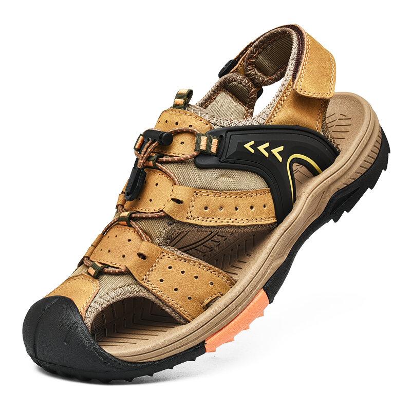 Men Closed Toe Hook Loop Non Slip Leather Hiking Sandals