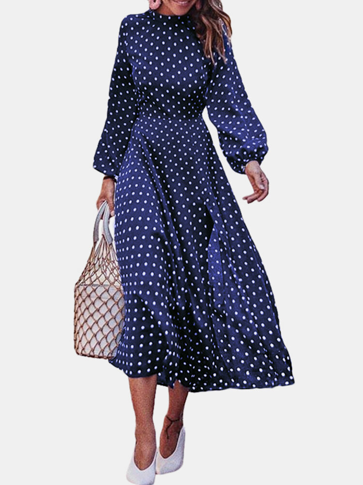 Polka Dot Print Crew Neck Long Sleeve Casual Dress