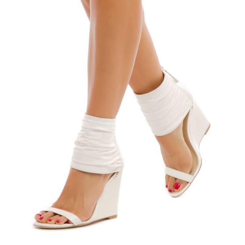 Ericdress Plain Open Toe Wedge Sandals