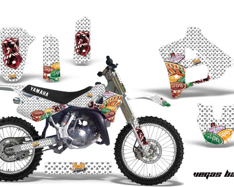 AMR Racing Graphics MX-NP-YAM-YZ125-YZ250-91-92-VB W Kit Decal Sticker Wrap + # Plates For Yamaha YZ125 YZ250 1991-1992áVEGAS WHITE