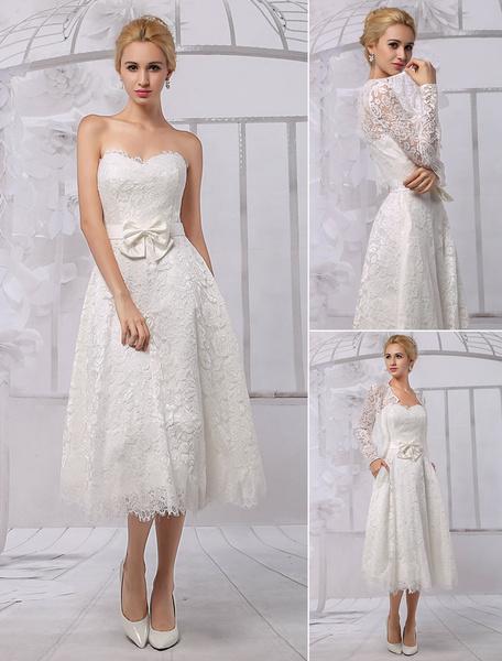 Milanoo Vestido de novia de encaje con escote en corazon y lazo hasta la pantorrilla