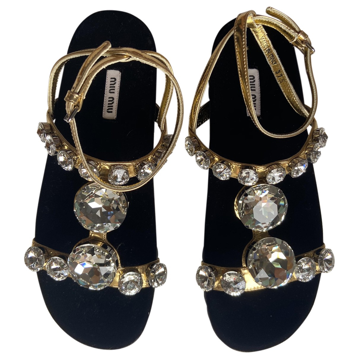 Miu Miu \N Gold Leather Sandals for Women 36 IT