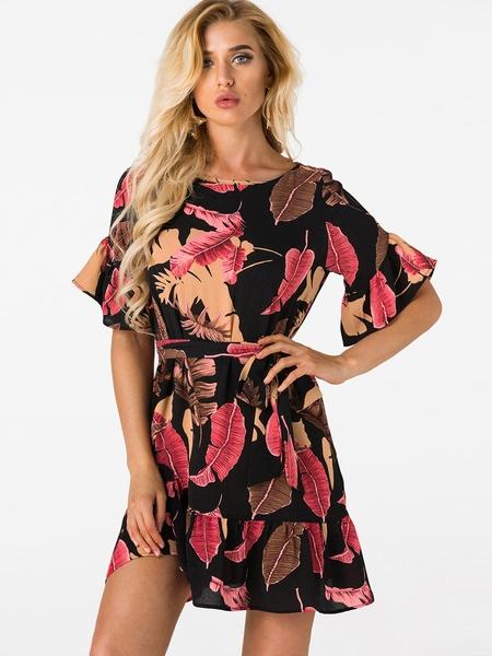 Yoins Black Random Floral Mini Dress With Half Flared Sleeves