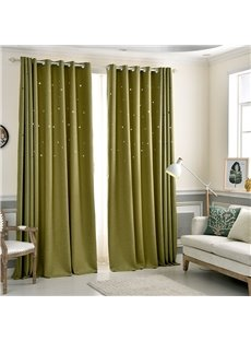 Grass Green High Quality Star Hollowed-out Custom Grommet Top Curtains