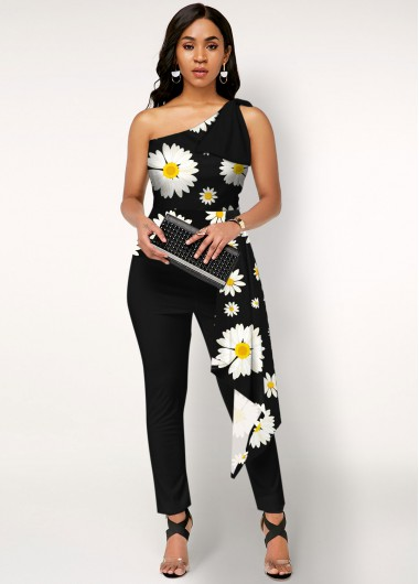 Daisy Print One Shoulder Black Overlay Jumpsuit - L