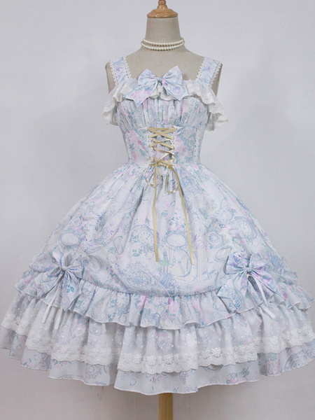 Milanoo Sweet Lolita JSK Jumper Skirt Neverland Chiffon Sleeveless Ruffles Bows Printed Pink Lolita Dress