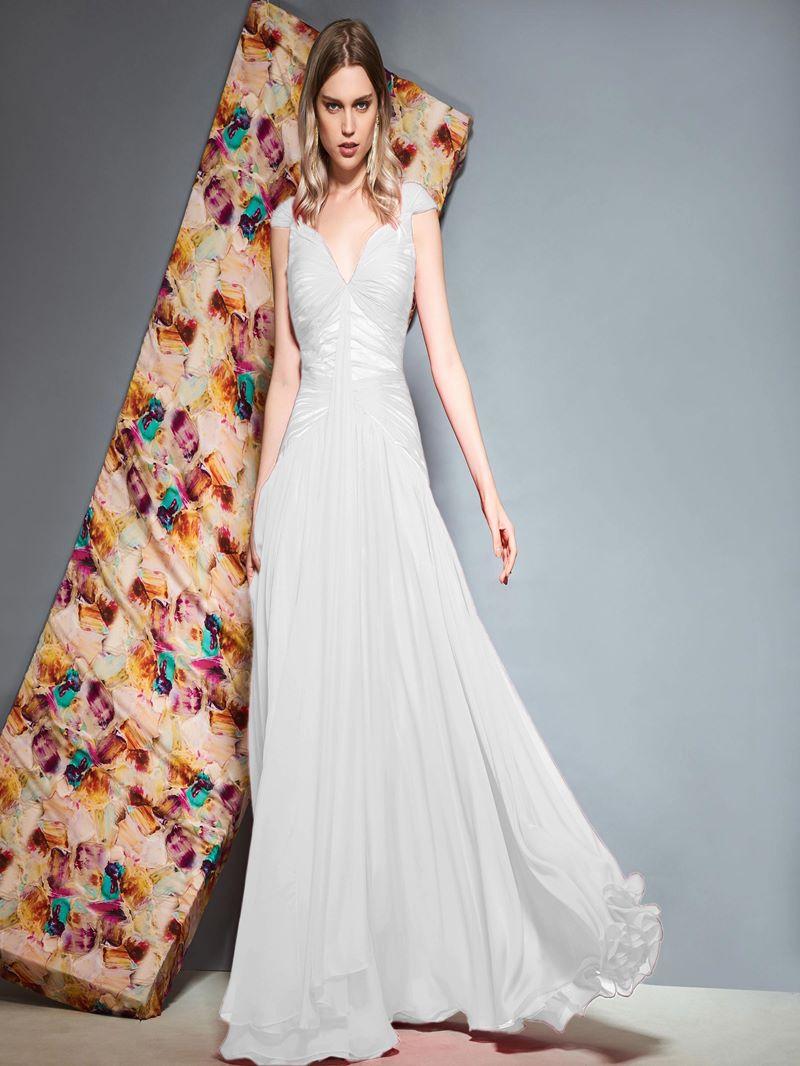 Ericdress Cap Sleeves V-Neck A-Line Evening Dress