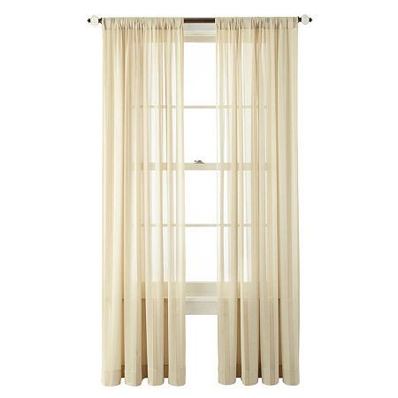 JCPenney Home Cherise Sheer Rod-Pocket Single Curtain Panel, One Size , Beige