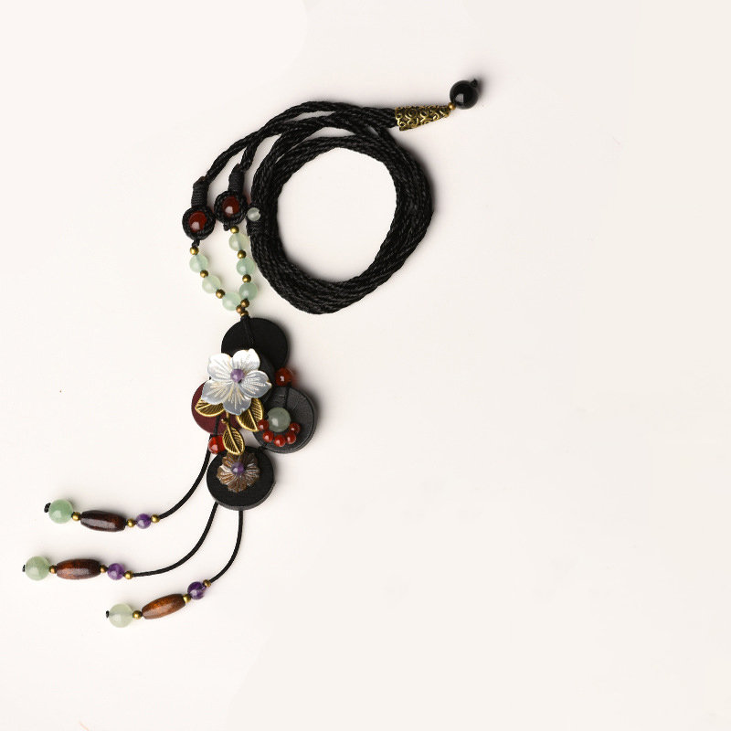 Ethnic Handmade Pendant Necklace Wax Rope Flower Leaf Jade Amethyst Beads Pendant Necklace for Women