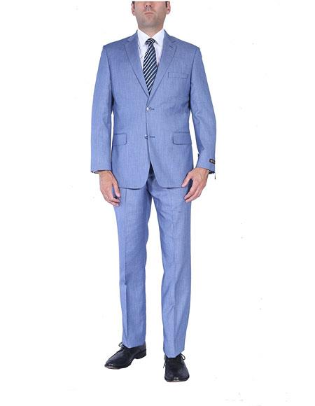 Men's Light Blue Two-Piece Single Breasted Classic Fit 2 Button Suit