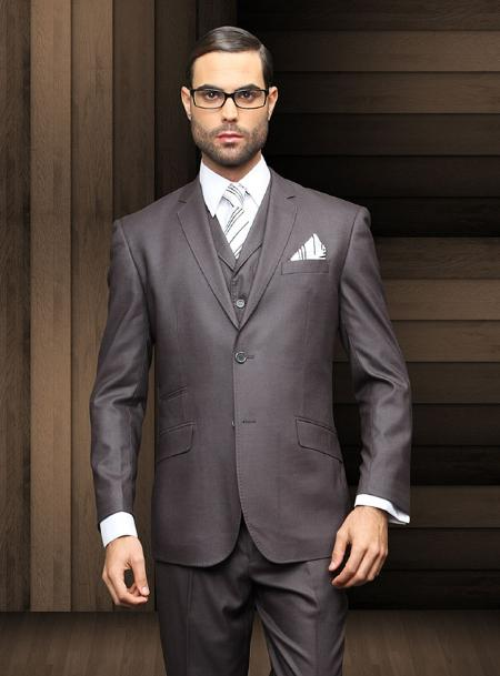 Mens Slim 2 Button Charcoal Vested Suit Comes With Free Shirt and Tie
