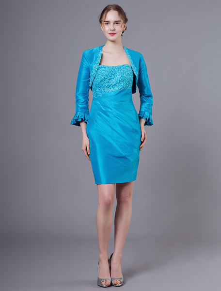 Milanoo Mother Of The Bride Outfit Taffeta Embroidered Beaded Sheath Short Dress And Jacket
