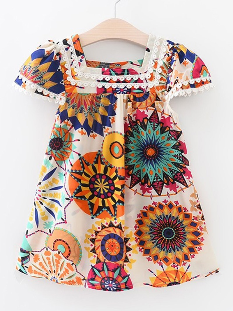 Ericdress Lace Floral Print Square Neck Girl's Summer Dress