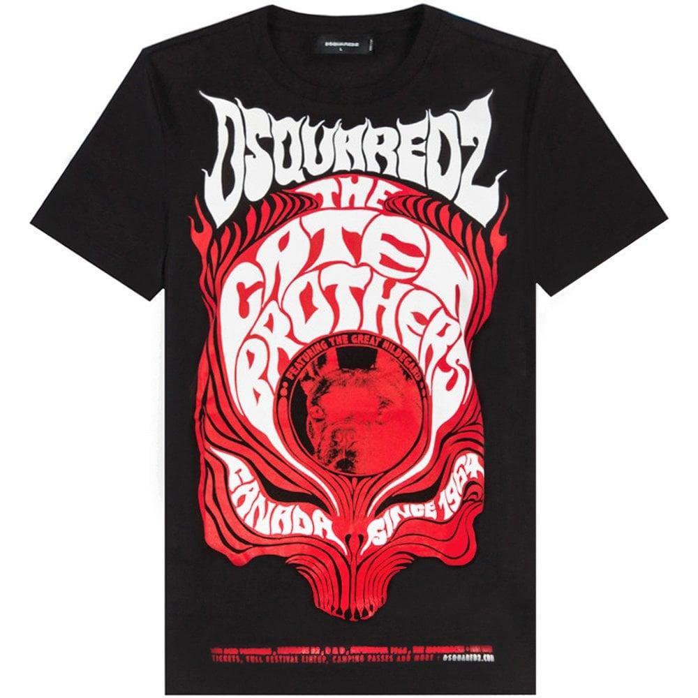 DSquared2 Large Graphic Logo Print T-Shirt Colour: BLACK, Size: SMALL
