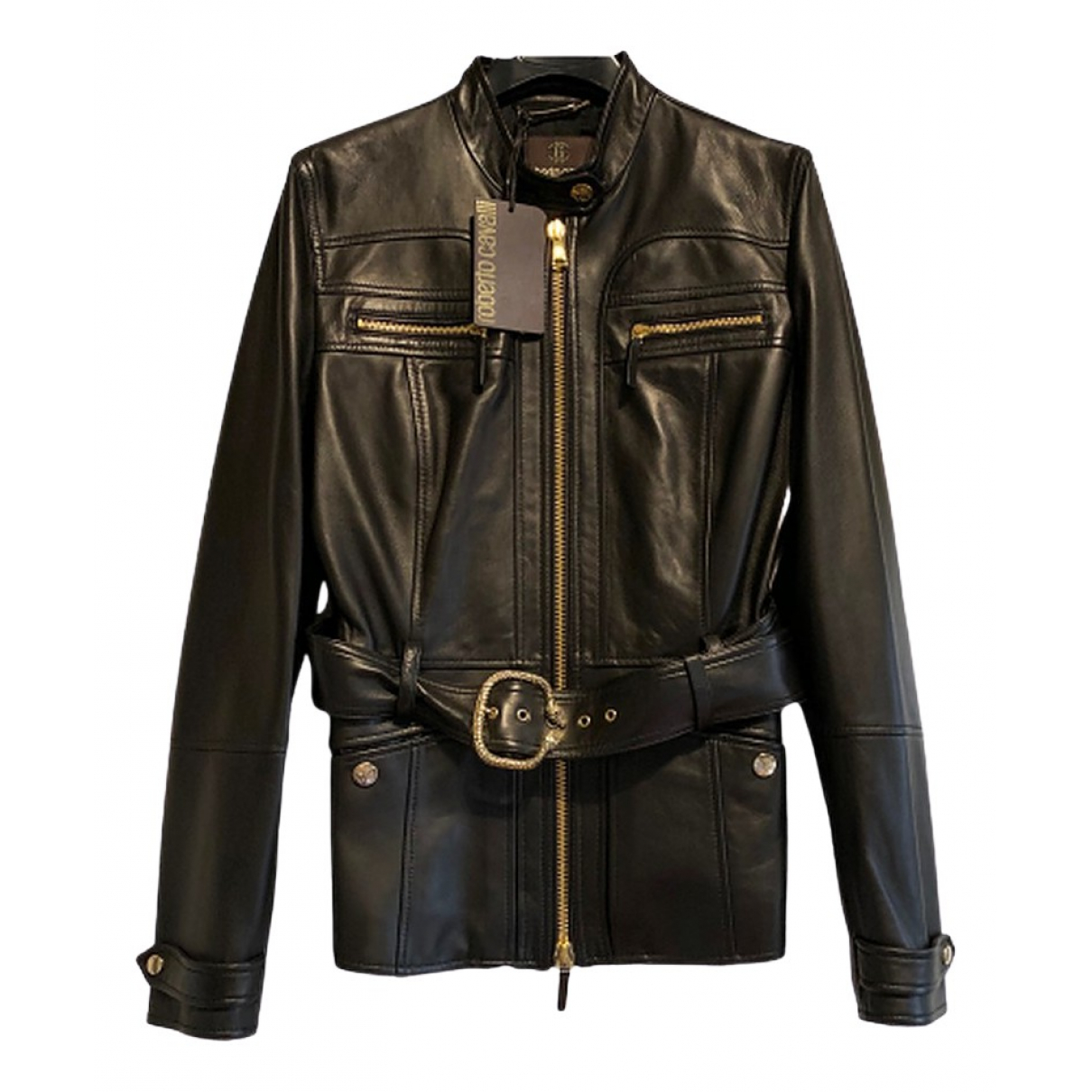 Roberto Cavalli \N Black Leather Leather jacket for Women M International